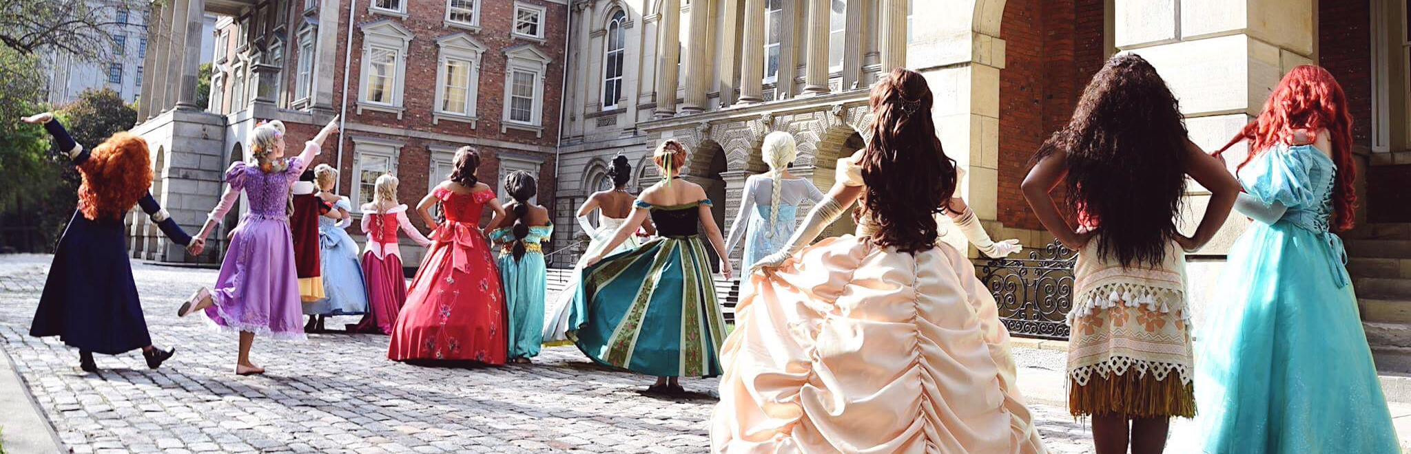 Forever Fairest Princesses looking at castle
